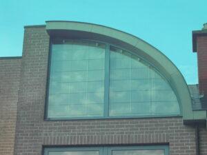 store voor halfrond raam